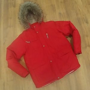 Boy's LANDS' END Red Down Winter Parka Jacket XL